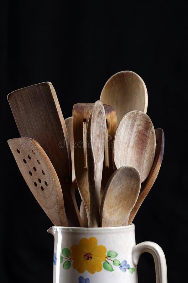 木厨房的utentials 图库摄影