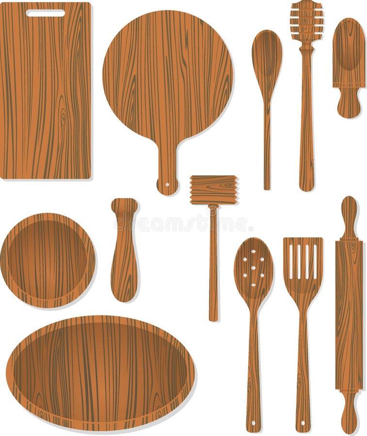 木厨房设备 库存例证