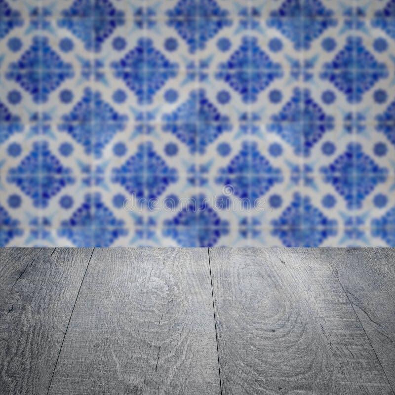 木台式和迷离葡萄酒陶瓷砖仿造墙壁 图库摄影