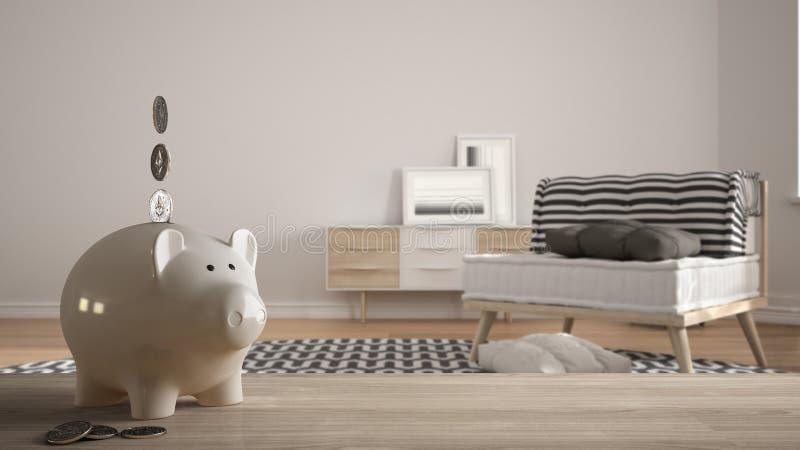 木台式或架子与白色存钱罐有硬币,现代白色和木客厅的,昂贵的家庭室内设计, 库存图片