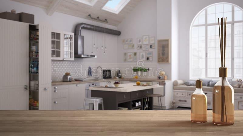木台式或架子与芳香棍子瓶在被弄脏的当代厨房斯堪的纳维亚样式的,白色建筑学 库存图片