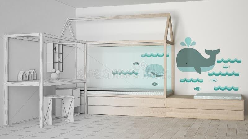 木和绿松石儿童卧室未完成的项目草稿有单人床和书桌的,最低纲领派建筑学内部 皇族释放例证