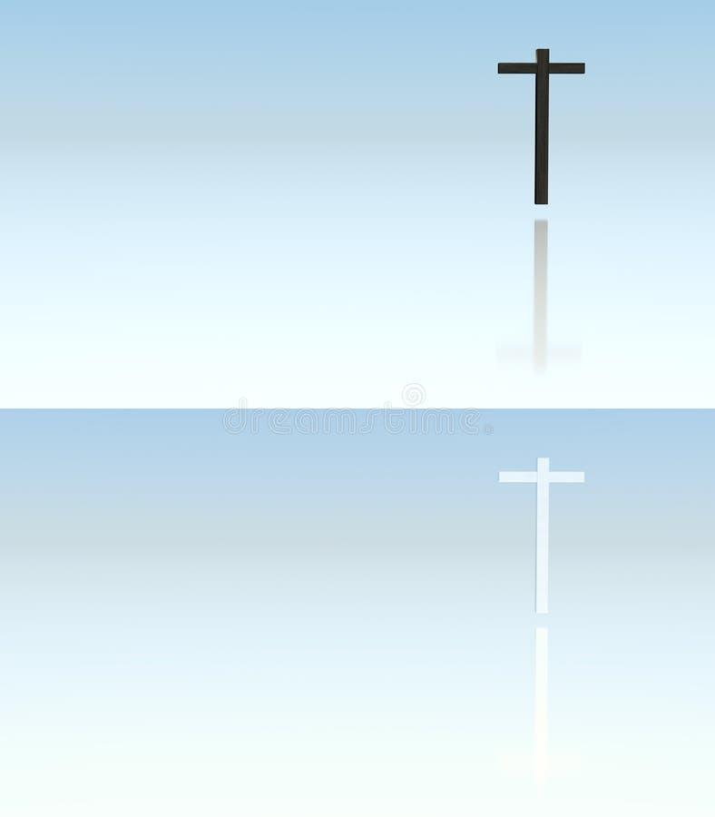 木和金属十字架 库存例证