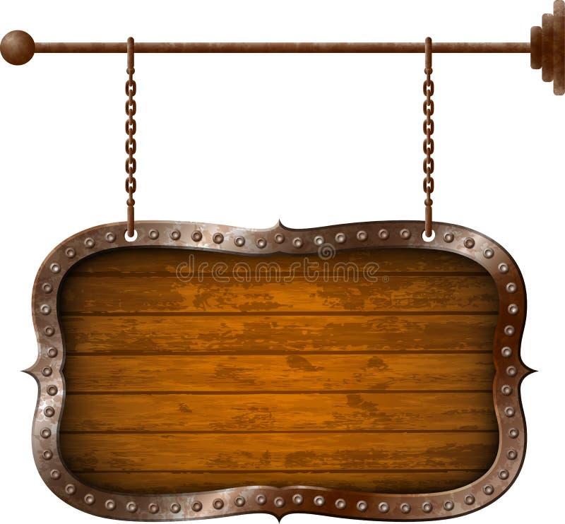 木和金属年迈的牌 向量例证