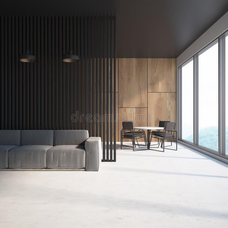 木和黑客厅,灰色沙发,桌 皇族释放例证