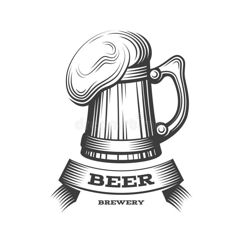 木啤酒杯商标-导航例证,象征在黑暗的背景的啤酒厂设计 库存例证