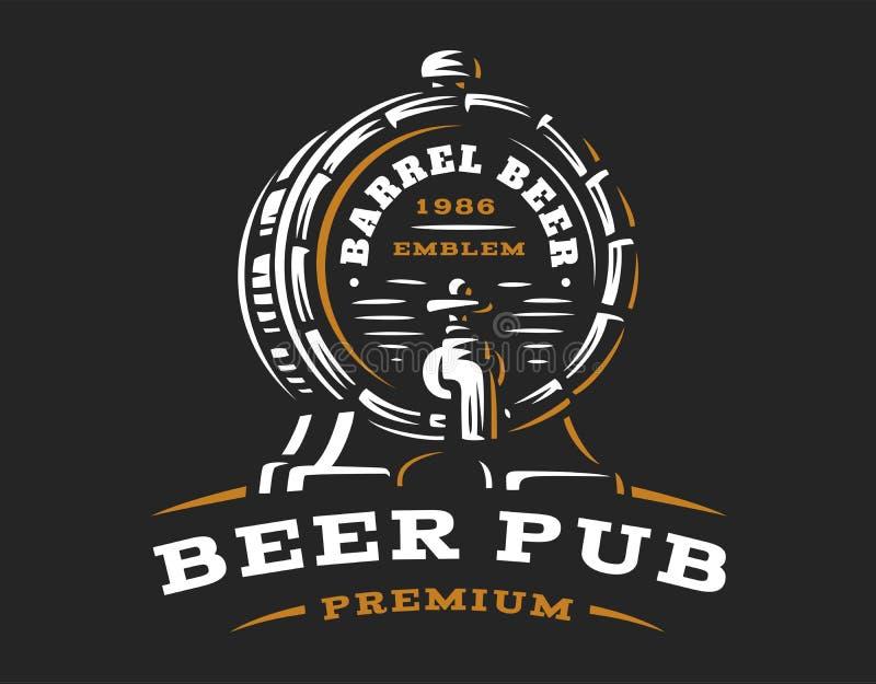 木啤酒桶商标-导航例证,啤酒厂设计 库存例证