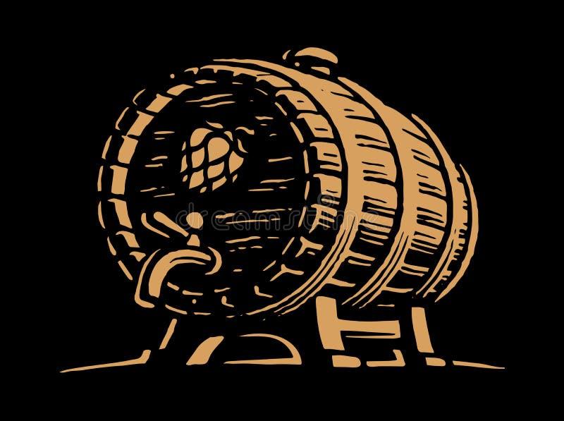 木啤酒桶-传染媒介例证设计 库存例证