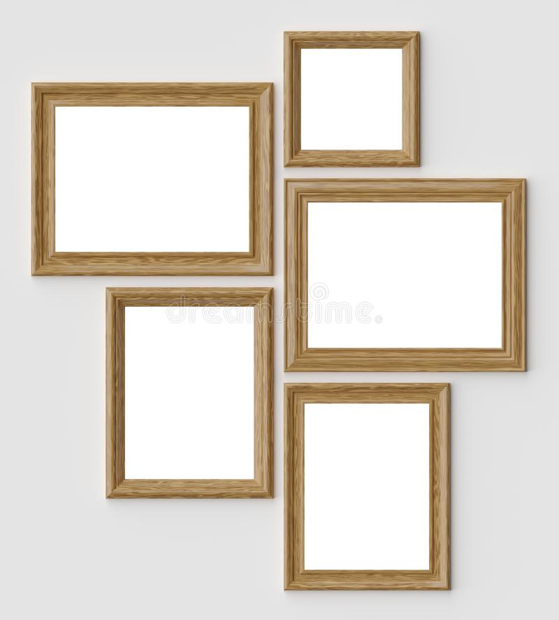 木图片或相框在白色墙壁上有阴影的与拷贝空间 皇族释放例证