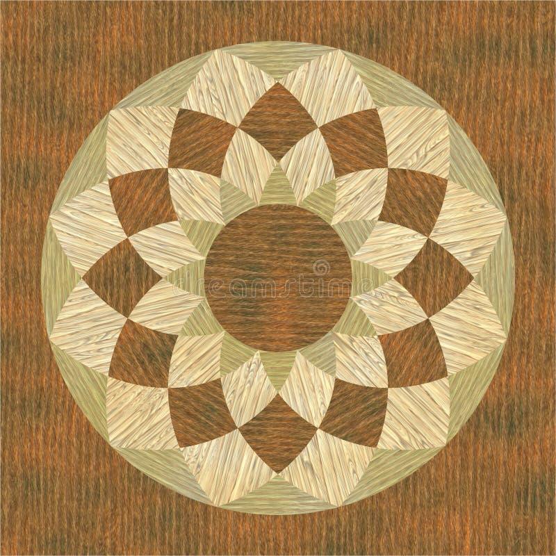 木圆的细致的镶嵌细工模式的纹理 库存例证