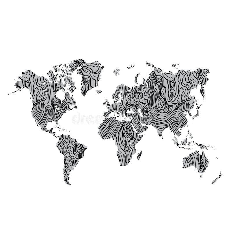 木在背景的世界地图灰色纹理手拉的黑色 向量 皇族释放例证