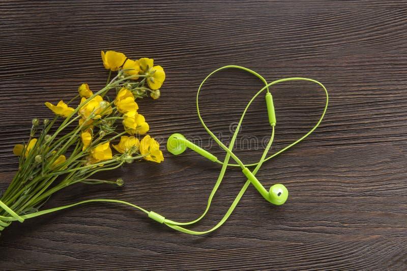 木地上美丽的黄花和耳机 免版税图库摄影