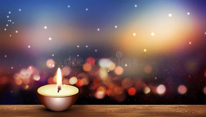 木地板上波光背景中的暖蜡烛 库存例证