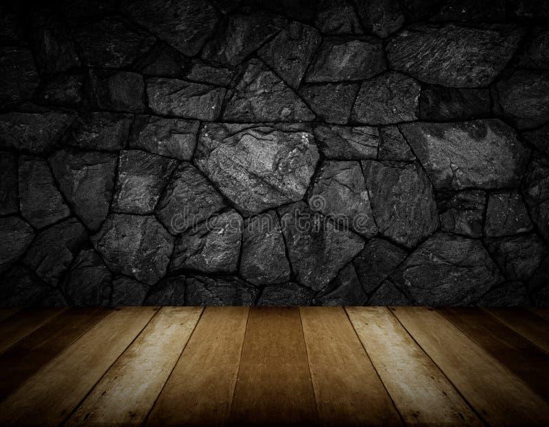 木地板和灰色破裂的石墙背景 库存例证