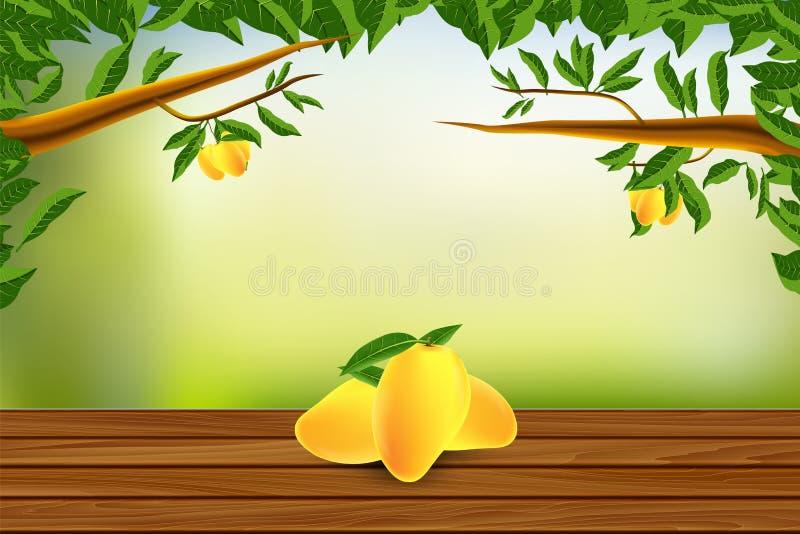 木地板用芒果和自然背景导航例证 向量例证