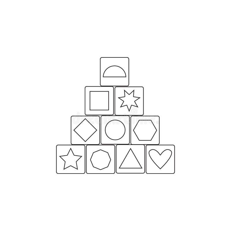 木块大厦比赛象 玩具元素象 优质质量图形设计象 婴孩标志,概述标志汇集 向量例证