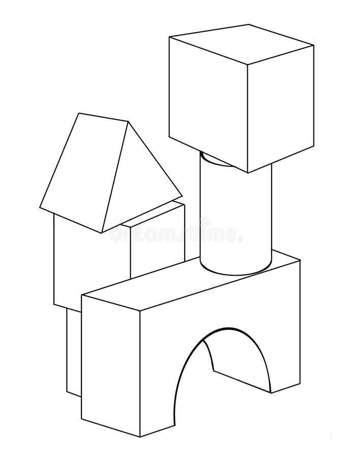 木块 向量例证