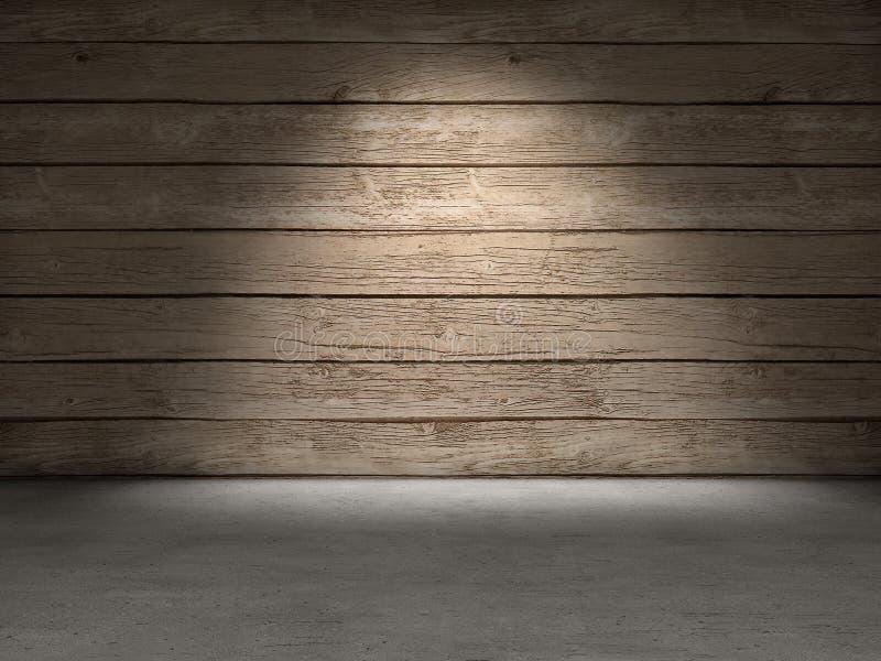 木墙壁混凝土地板 库存照片