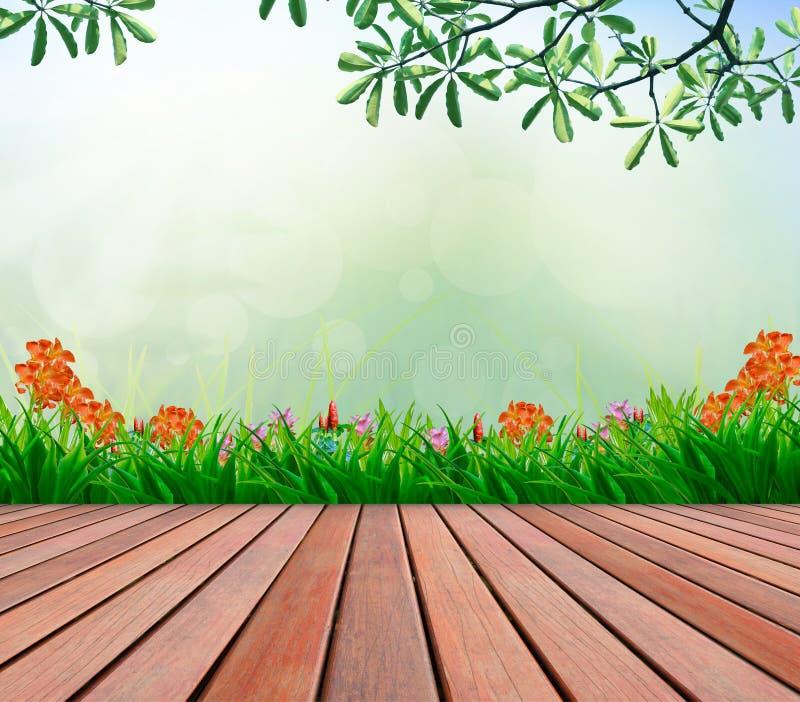 木大阳台和花园有模糊的拷贝空间的多的 皇族释放例证
