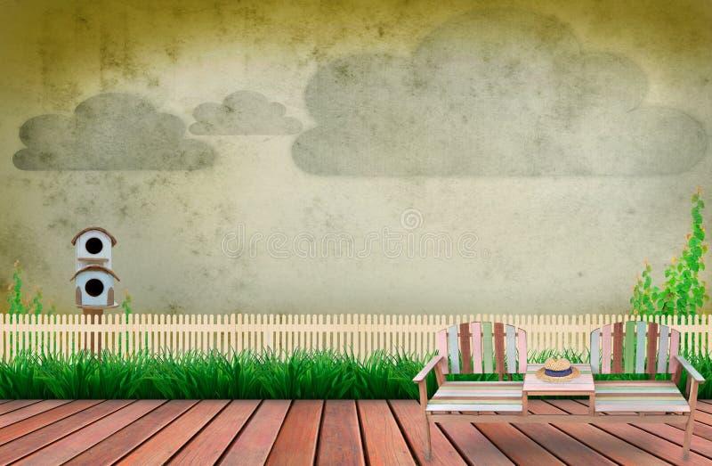 木大阳台场面在有云彩的庭院里在天空 向量例证