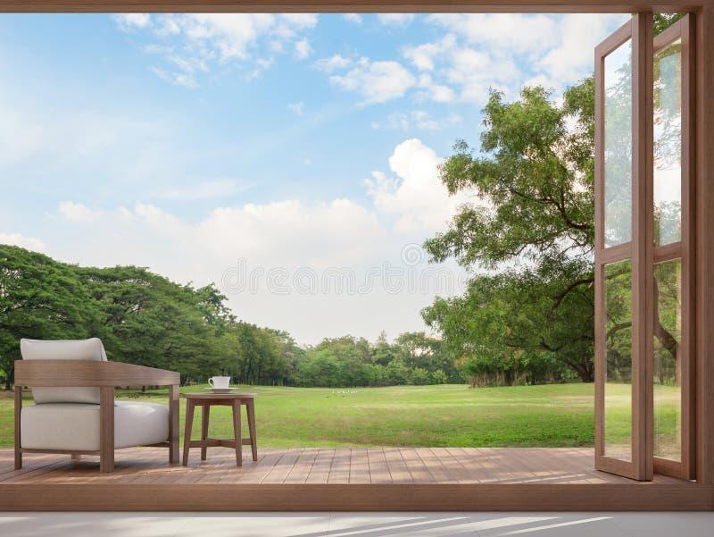 木大阳台有庭院图3d回报 库存例证