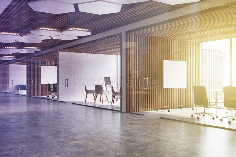 木天花板办公室大厅,被定调子的海报 库存例证