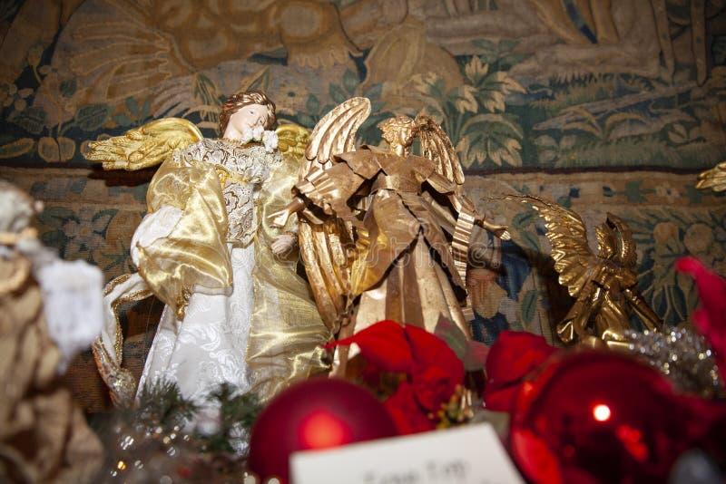 木头做了圣诞节天使 图库摄影