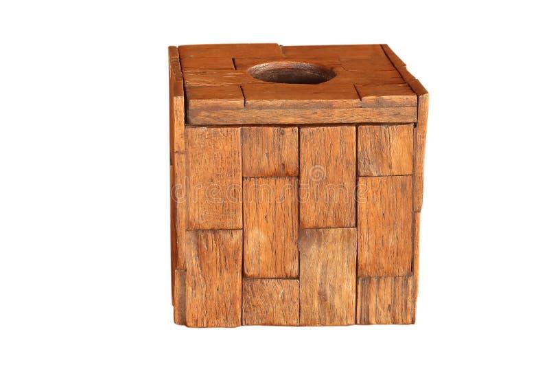 木头做的薄纸箱子被隔绝在白色背景 库存照片