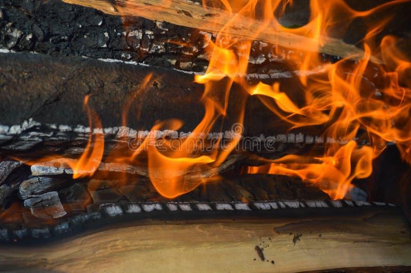 木头木灼烧的热的被烧焦的板条注册与火和烟的舌头的火 r 免版税库存图片