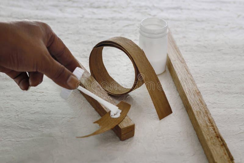 木头的乳汁胶粘剂 免版税库存照片
