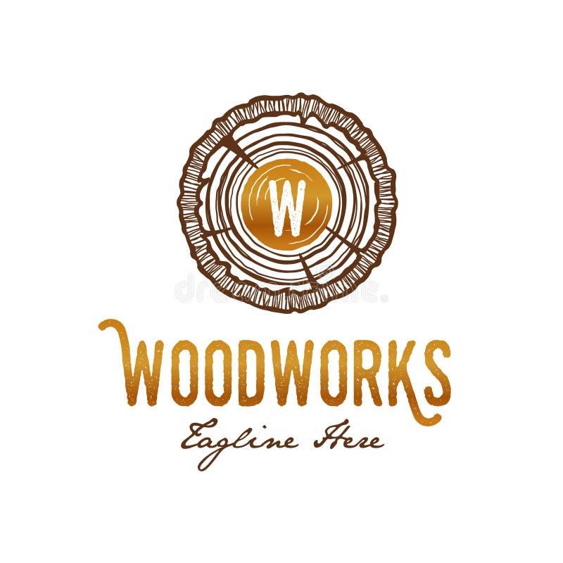 木头运作木匠商标 皇族释放例证