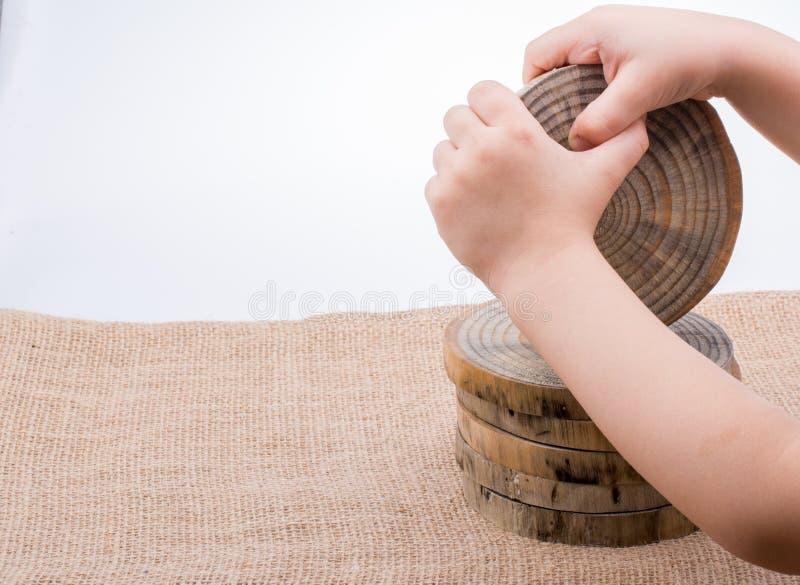 木头采伐在圆的稀薄的片断的裁减 图库摄影