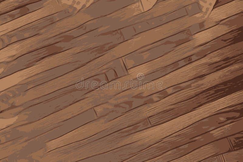 木头,与棕色颜色的古色古香的木地板纹理  向量例证