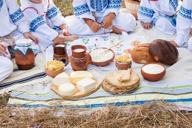 木奶制品的表 农村的食物 免版税库存图片