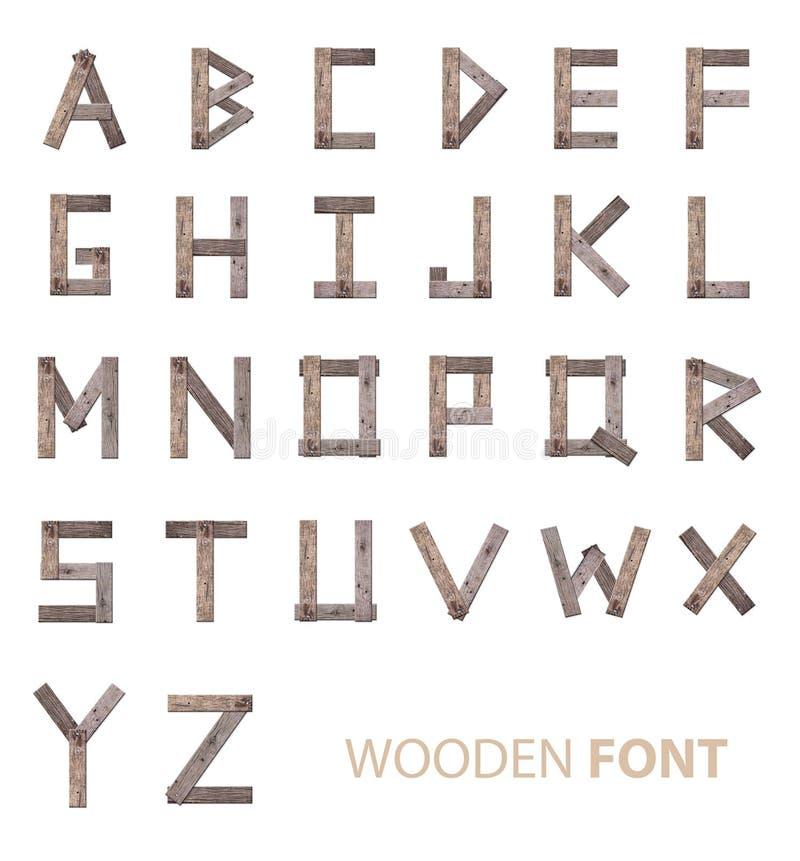 木字母表字体 免版税库存照片