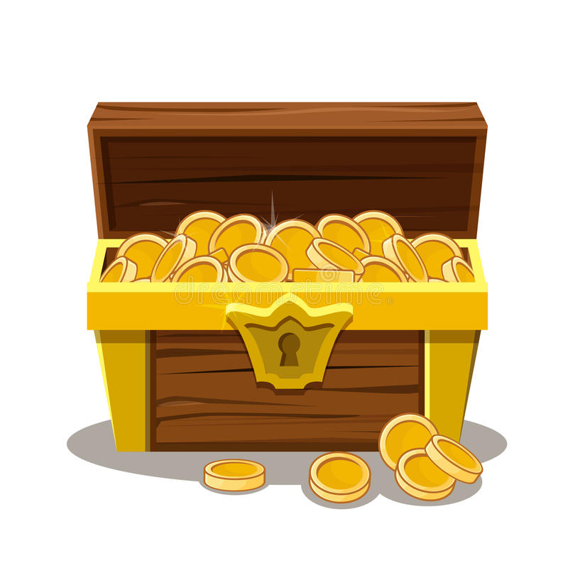 木宝物箱和硬币 皇族释放例证