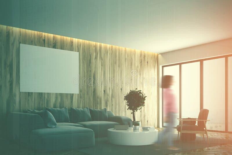 木客厅,灰色沙发,被定调子的海报边 向量例证