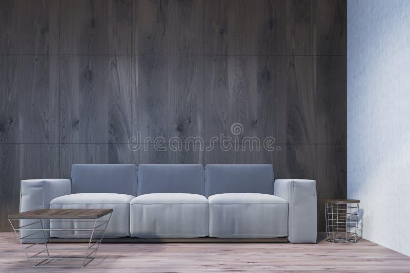 木客厅,灰色沙发 库存例证