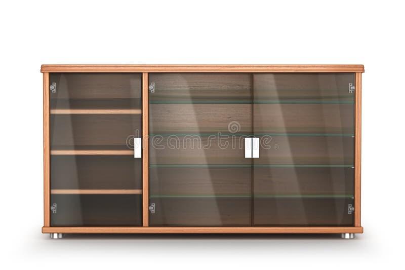 木家具 内阁与在白色背景隔绝的玻璃架子的床头柜 库存例证