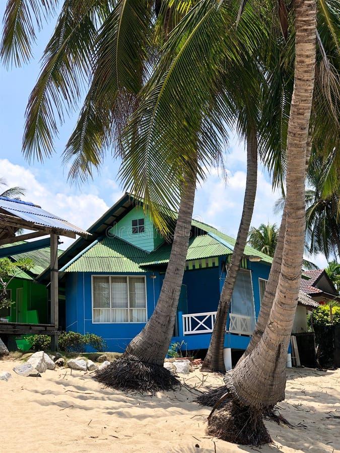 木小屋在一个热带白色海滩的棕榈树下 免版税图库摄影