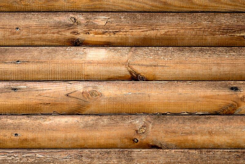 木屋与被锤击的钉子纹理的灰木头 免版税库存照片
