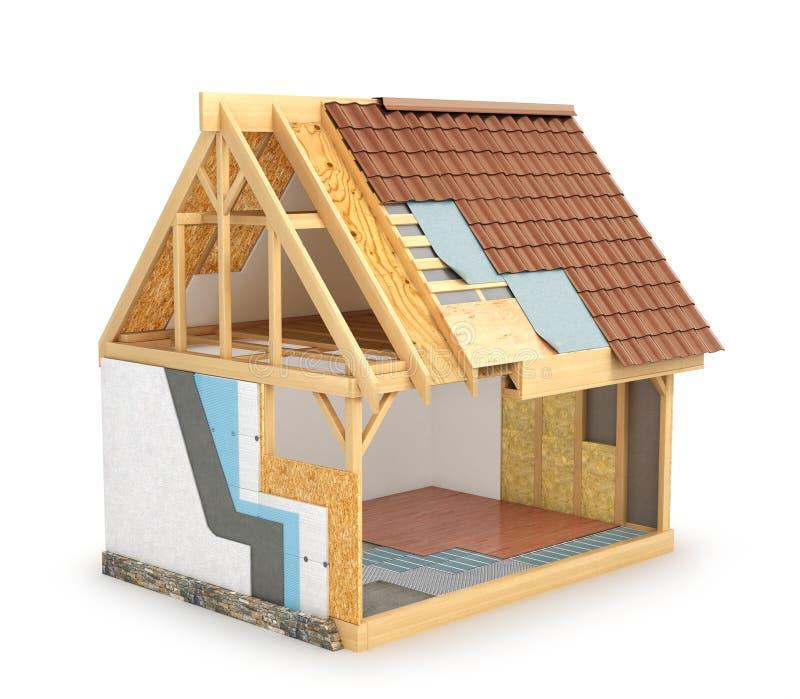 木屋,显示安装热的墙壁和防水的屋顶一份计划 3d 向量例证