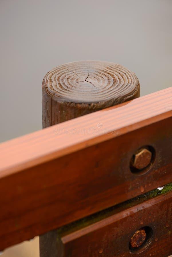木岗位特写镜头在篱芭的 库存照片
