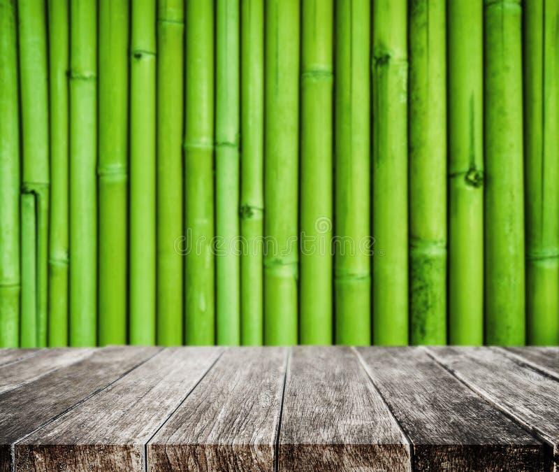 木平台和竹子纹理背景 图库摄影
