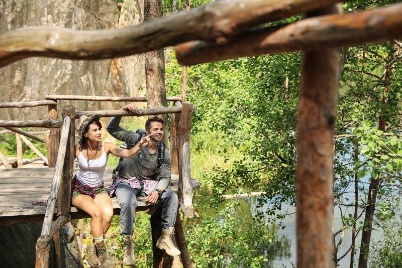木平台的年轻朋友在森林里 图库摄影