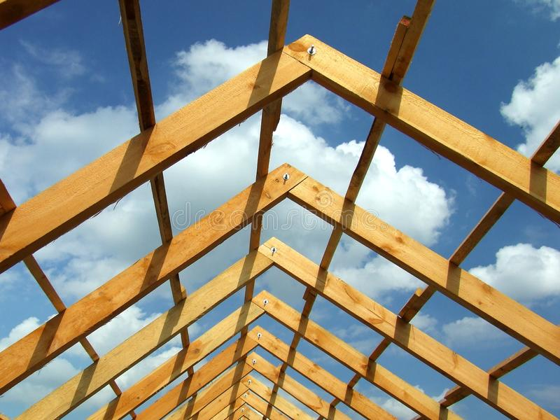 木建筑的屋顶 库存照片