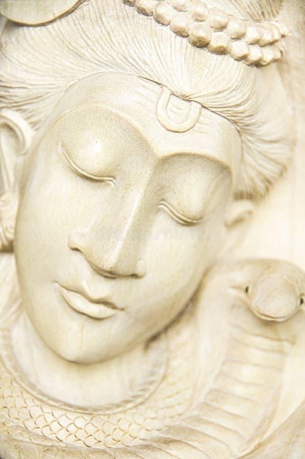 木异教的雕塑特写镜头 印度尼西亚-巴厘岛 库存照片