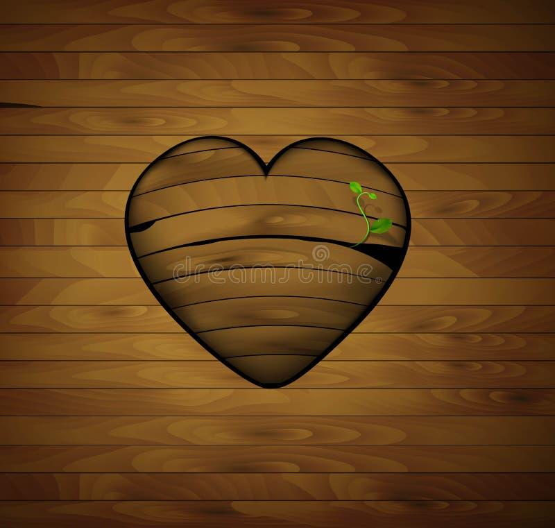 木心脏用新芽,华伦泰标志, 库存例证