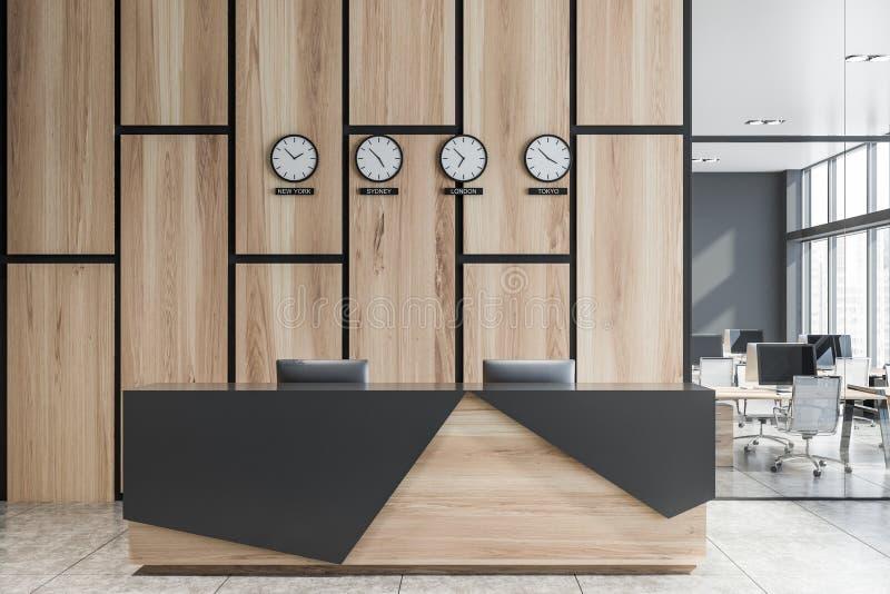 木总台在现代办公室 皇族释放例证