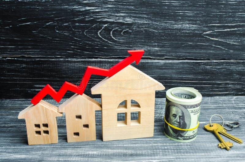 木房子从从小到大连续站立与一个红色箭头 概念的高要求房地产的 增加能量effi 库存图片